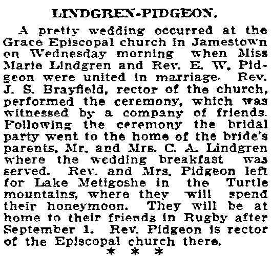 A wedding announcement for Marie Lindgren and E.W. Pidgeon, Grand Forks Daily Herald newspaper article 20 June 1914