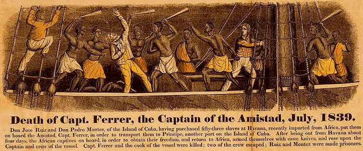 "Illustration: ""Death of Capt. Ferrer, the captain of the Amistad, July 1839"""