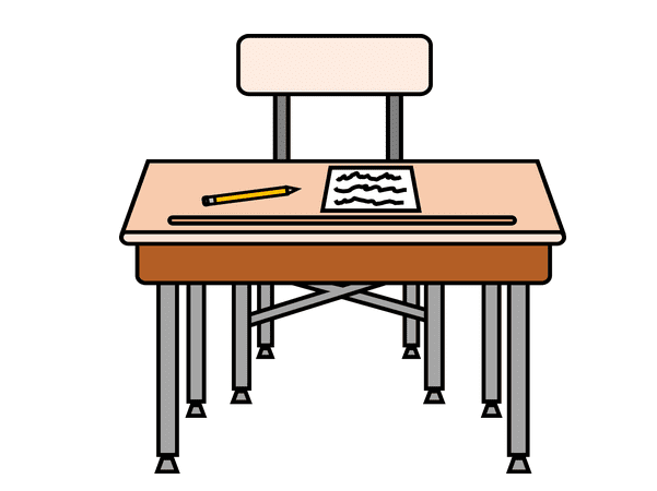Illustration: an elementary school desk