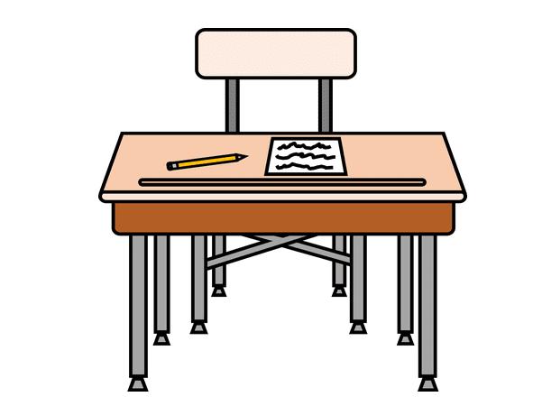 Illustration: an elementary school desk