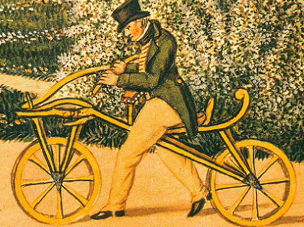 Illustration: German inventor Karl von Drais using his Laufmaschine, 1819. Credit: Lesseps; Wikimedia Commons.