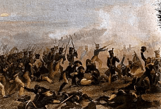 Illustration: American infantry attack at the Battle of Lundy's Lane, War of 1812, 25 July 1814