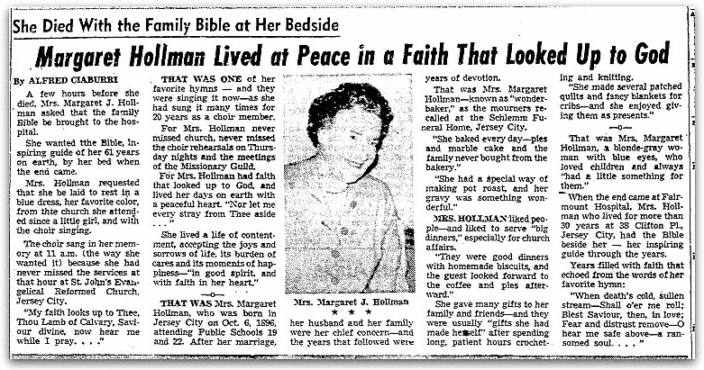 An obituary for Margaret Hollman, Jersey Journal newspaper article 26 January 1957