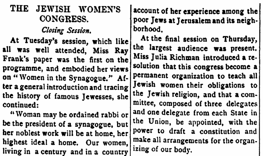An article about the the National Council of Jewish Women, Jewish Messenger newspaper article 15 September 1893