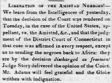 An article about the slave revolt on board the Amistad, North American newspaper article 11 March 1841
