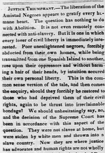 An article about the slave revolt on board the Amistad, North American newspaper article 13 March 1841