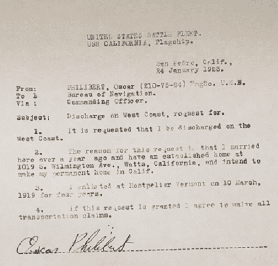 Photo: U.S. Navy discharge request from Oscar Philibert, 24 January 1923