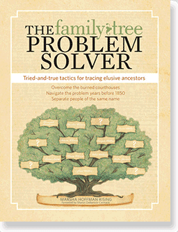 "Photo: cover of the book ""The Family Tree Problem Solver"" by Marsha Hoffman Rising"