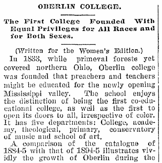 An article about Oberlin College, Plain Dealer newspaper article 27 January 1895