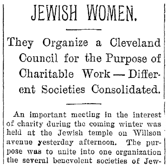 An article about the the National Council of Jewish Women, Plain Dealer newspaper article 6 November 1894