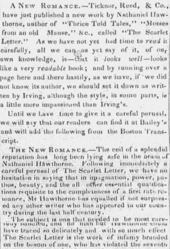 "An article about Nathaniel Hawthorne and ""The Scarlet Letter,"" Portland Daily Advertiser newspaper article 20 March 1850"