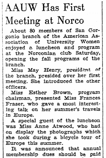 An article about the American Association of University Women, Riverside Daily Press newspaper article 31 October 1939