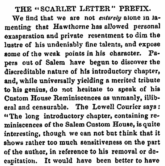 "An article about Nathaniel Hawthorne and ""The Scarlet Letter,"" Salem Register newspaper article 25 March 1850"