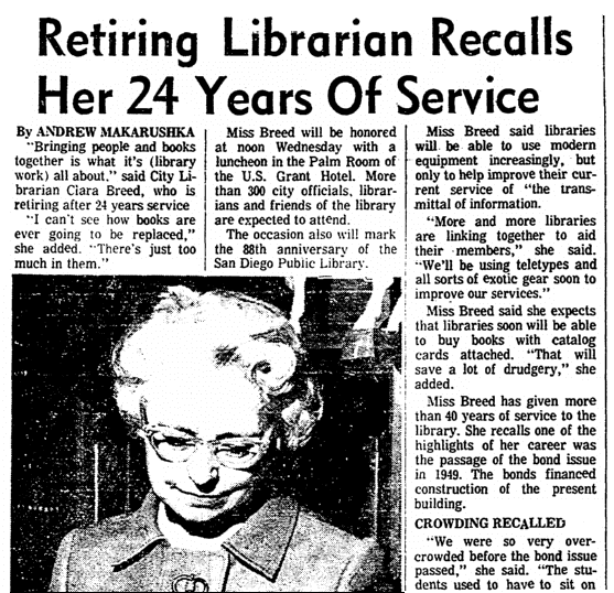 An article about Clara Breed, San Diego Union newspaper article 25 May 1970