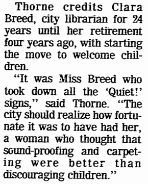 An article about Clara Breed, San Diego Union newspaper article 16 June 1974