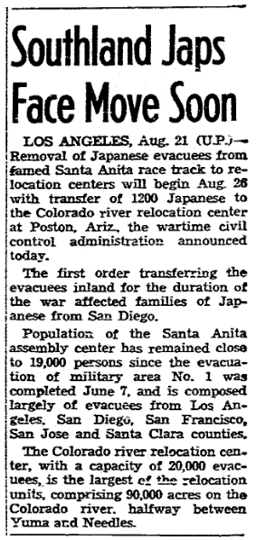 An article about the internment of Japanese Americans during WWII, San Diego Union newspaper article 22 August 1942