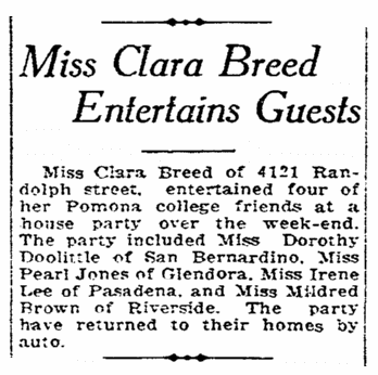 An article about Clara Breed, San Diego Union newspaper article 28 August 1925