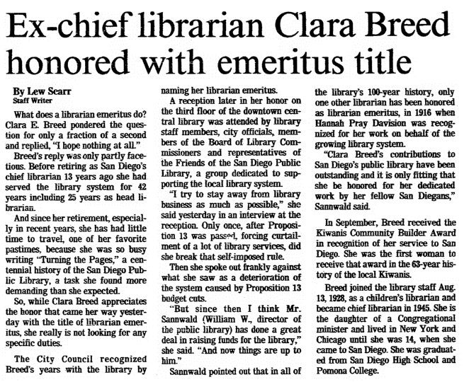 An article about Clara Breed, San Diego Union newspaper article 6 December 1983