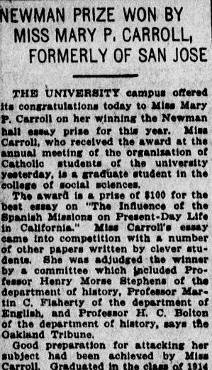 An article about college student Mary Carroll, San Jose Mercury News newspaper article 18 April 1915