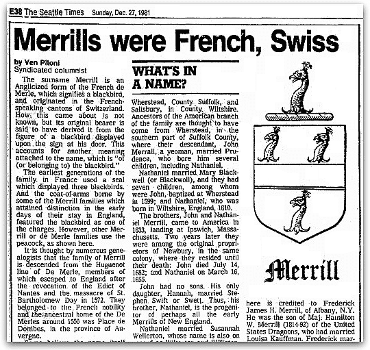 "An article about the surname ""Merrill,"" Seattle Daily Times newspaper article 27 December 1981"