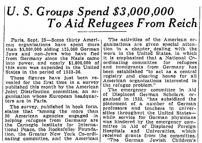 An article about the German Jewish Children's Aid Society, Springfield Republican newspaper article 30 September 1937