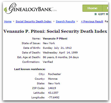 Social Security Death Index listing for Venanzio P. Pitoni (1912-1999)