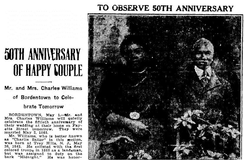 A 50th wedding anniversary announcement for Mr. and Mrs. Charles Williams, Trenton Evening Times newspaper article 1 May 1915