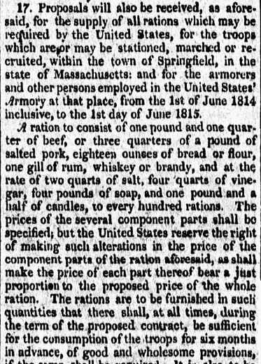 An article about soldiers' rations for the War of 1812, Voice of the Nation newspaper article 18 December 1813