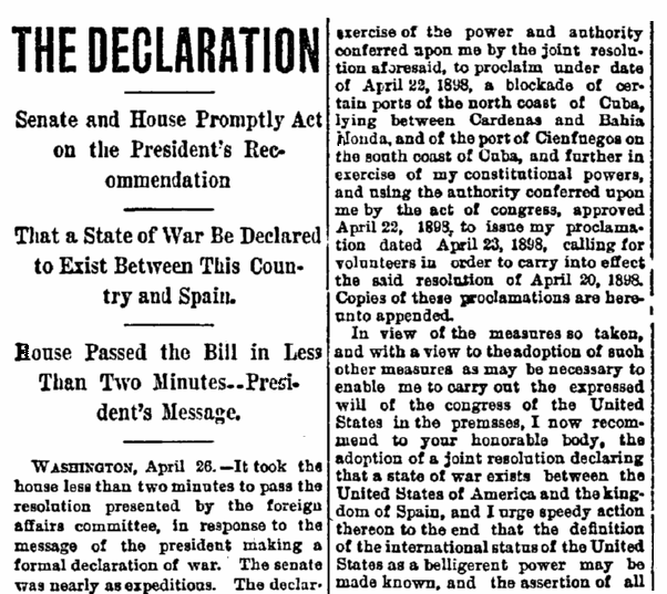 An article about the U.S. declaring war on Spain, Aberdeen Daily News newspaper article 26 April 1898