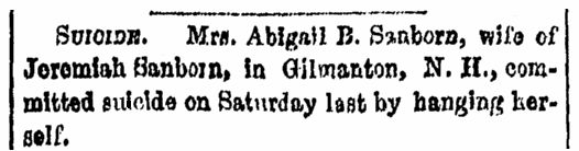 An article about the suicide of Abigail Sanborn, Boston Herald newspaper article 4 December 1851