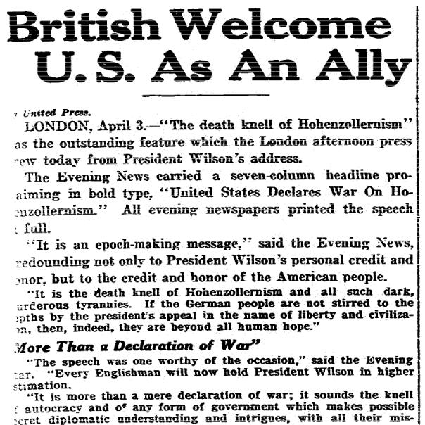 An article about the U.S. entering World War I, Cincinnati Post newspaper article 3 April 1917