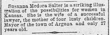 An article about Susanna Salter, Dallas Morning News newspaper article 12 May 1887