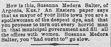 An article about Susanna Salter, Dallas Morning News newspaper article 19 June 1887