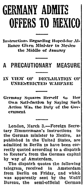 An article about the Zimmermann Telegram, Emporia Gazette newspaper article 3 March 1917