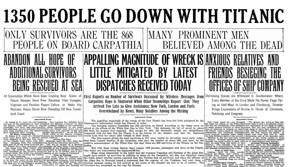An article about the sinking of the Titanic, Evening Tribune newspaper article 16 April 1912