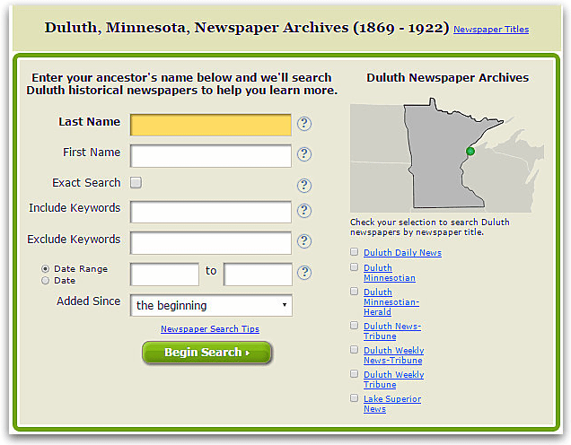 A screenshot of GenealogyBank's search page for Duluth, Minnesota, newspapers