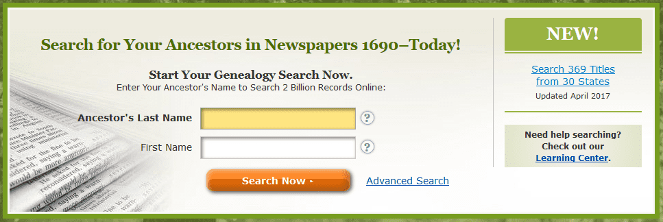A screenshot of GenealogyBank's home page showing the announcement of the new content added in April 2017