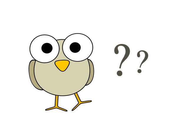 Illustration: gray bird with question marks
