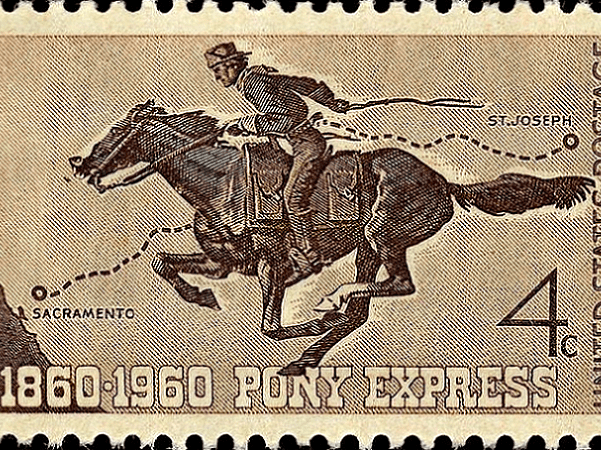 Photo: Pony Express 100th anniversary commemorative stamp of 1960. Credit: U.S. Post Office; Smithsonian National Postal Museum.