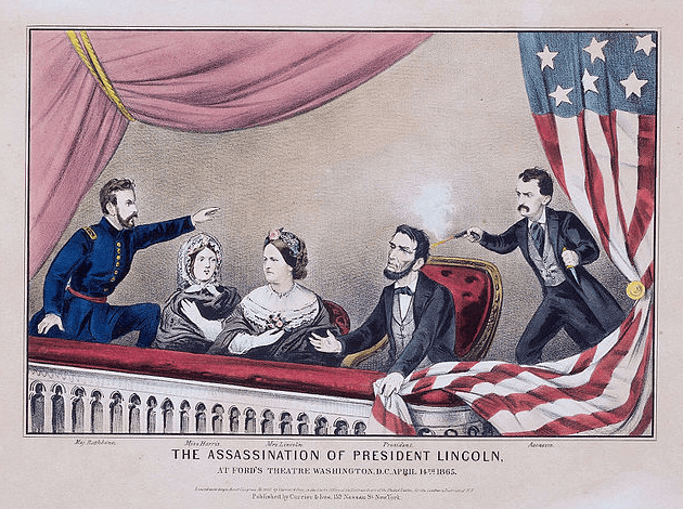 """Illustration: """"Assassination of Abraham Lincoln"""" by Currier and Ives, 1865"""