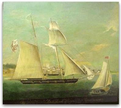 """Illustration: """"U.S.R.C. McLane. Josiah Sturgis, Lieut.-Commandant,"""" by James Guy Evans, 1835"""