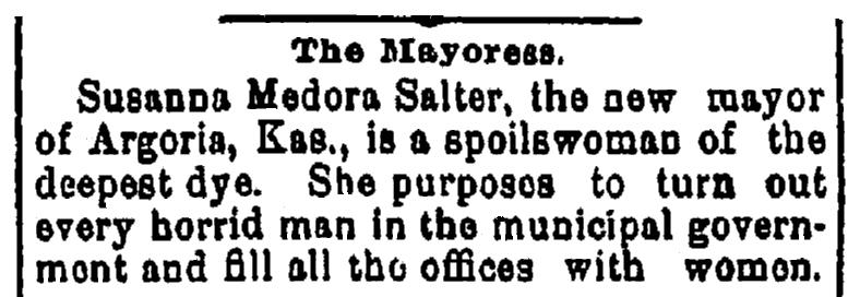 An article about Susanna Salter, Jackson Citizen newspaper article 24 May 1887