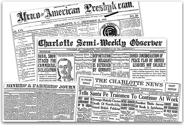 A montage of front pages of newspapers from Charlotte, North Carolina