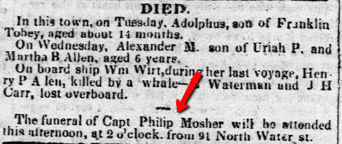 Death notices, New-Bedford Mercury newspaper article 8 September 1837