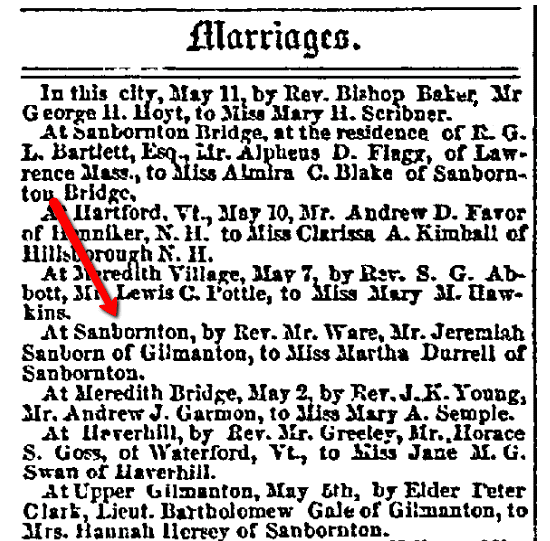 Marrriage notices, New Hampshire Patriot and State Gazette newspaper article 17 May 1854