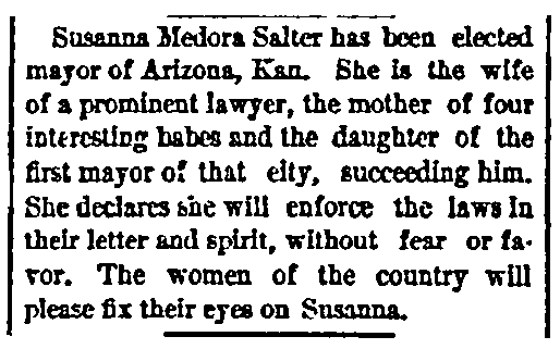 An article about Susanna Salter, New Haven Register newspaper article 6 May 1887
