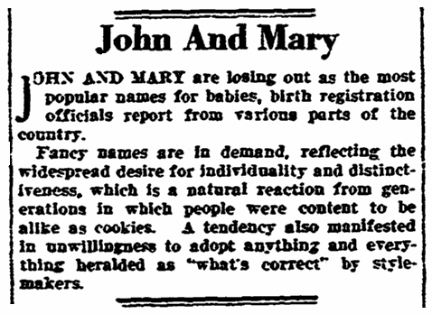 An article about names, New Orleans States newspaper article 6 September 1924