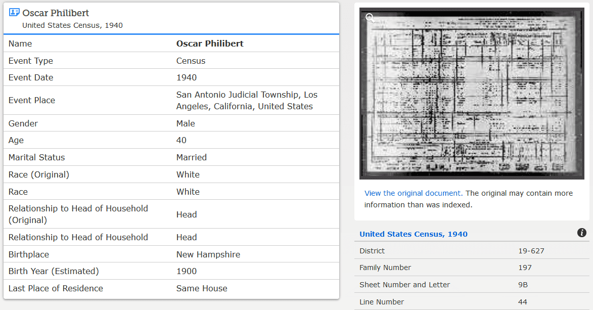 Photo: 1940 census record for Oscar Philibert