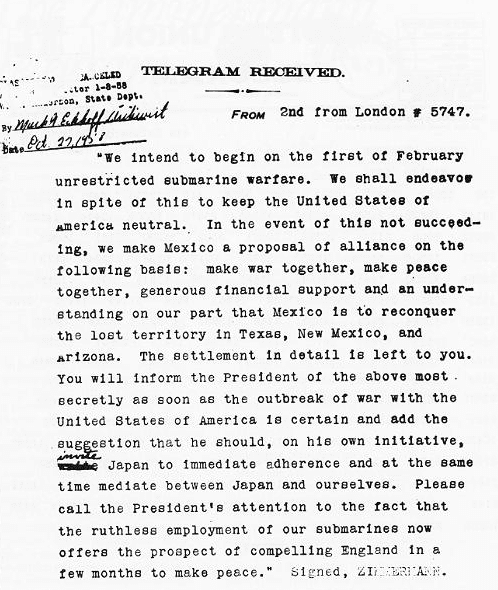 Photo: the Zimmermann Telegram decrypted and translated