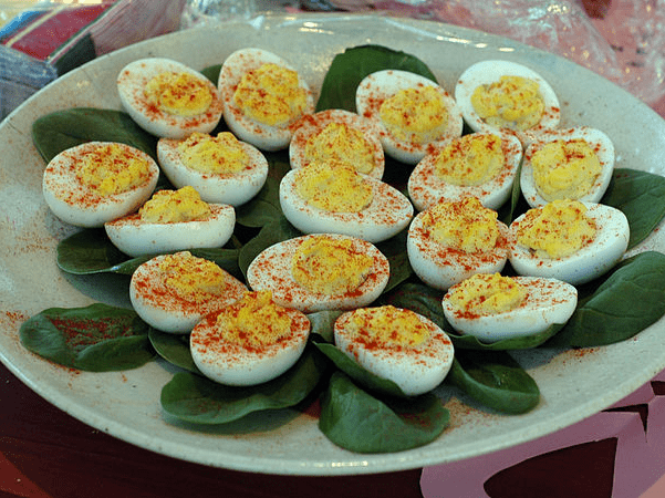 Photo: a platter of deviled eggs. Credit: Marshall Astor; Wikimedia Commons.